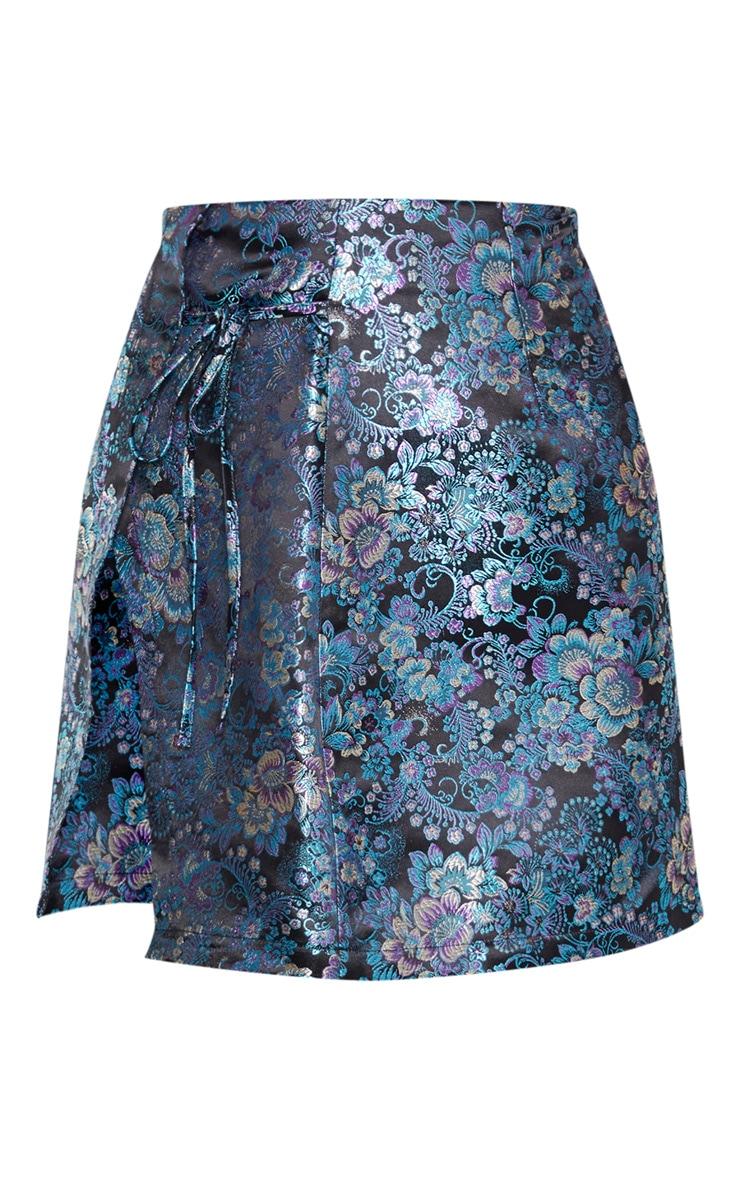 Mini-jupe portefeuille noire à imprimé style asiatique 3