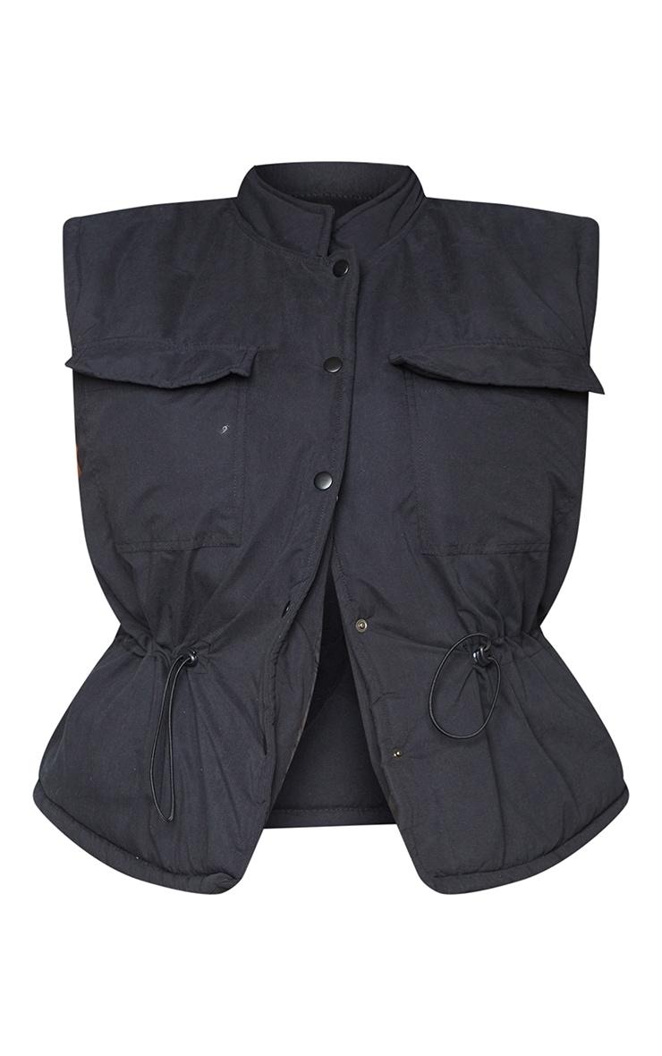 Plus Black Pocket Front Toggle Waist Detail Gilet 5