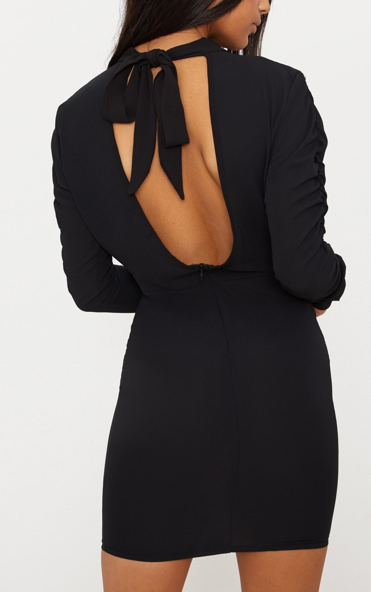 Black Bow Back Ruched Arm Bodycon Dress 5