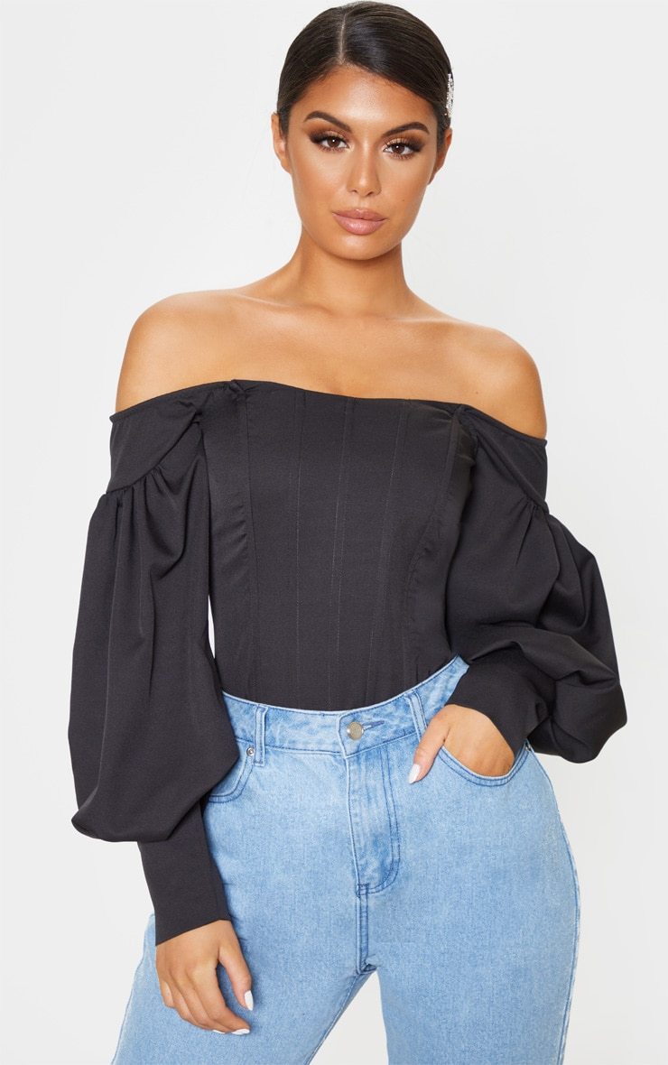 Black Bardot Balloon Sleeve Corset Top 1