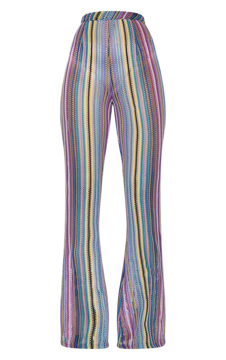 Multi Crochet Stripe Wide Leg Trousers  4