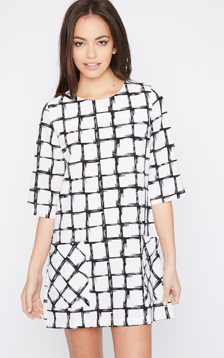 Agni White Check Shift Dress 1