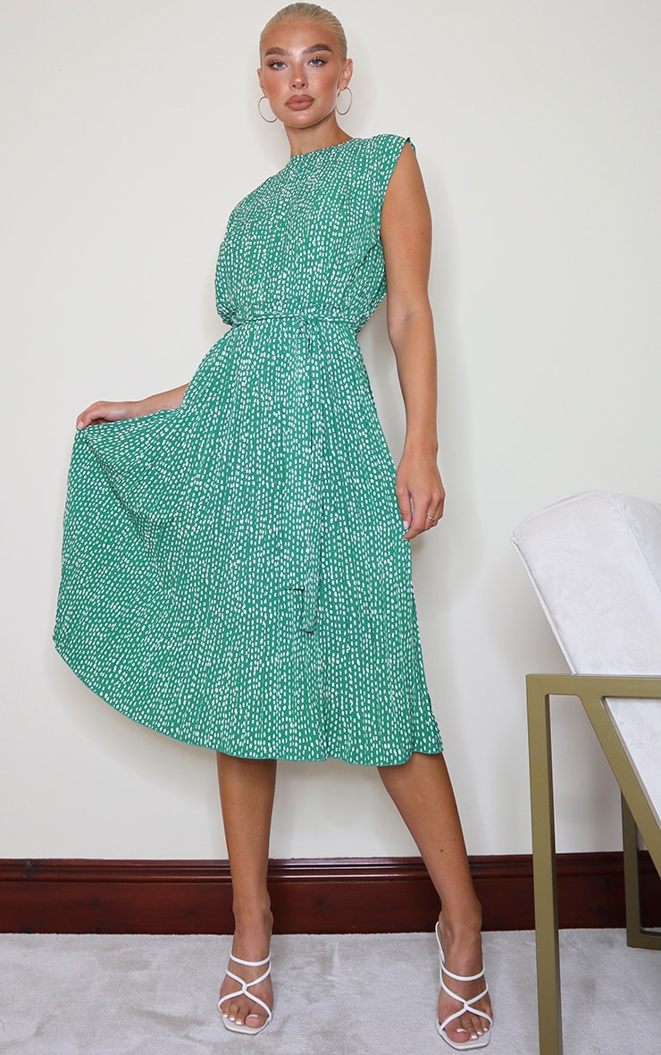 Green Dalmatian Print Pleated Sleeveless Midi Dress 1