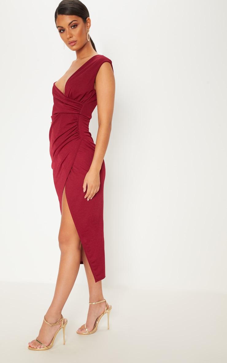 Burgundy Asymmetric Sleeve Ruched Midi Dress 4