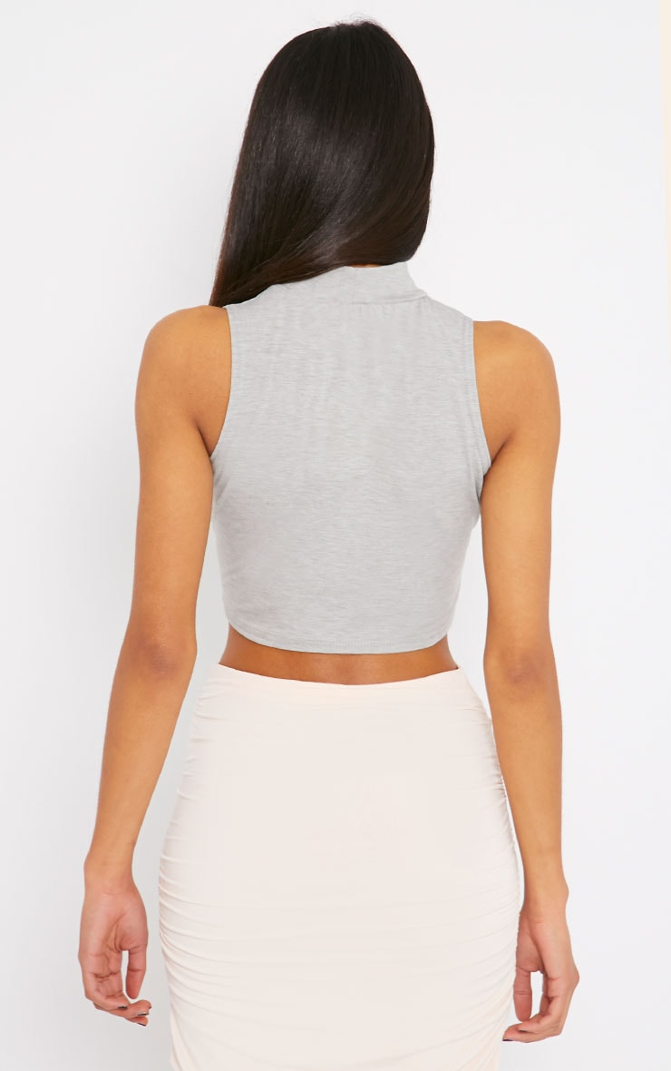 Basic Grey Jersey High Neck Crop Top 2