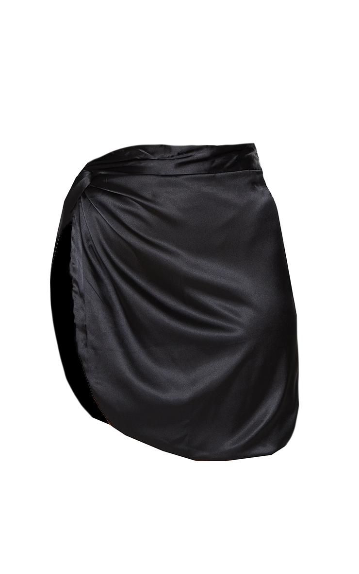 Black Satin Knot Detail Asymmetric Mini Skirt 6