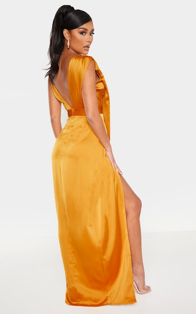 Mustard Asymmetric Drape Detail Maxi Dress
