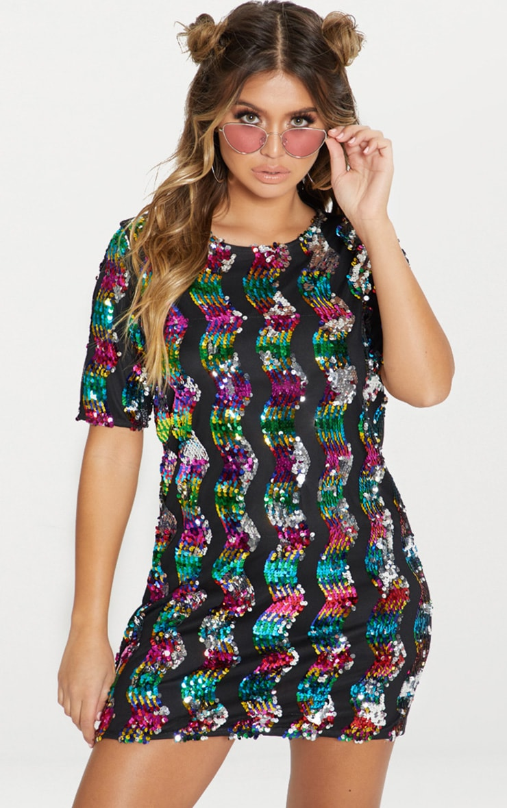 Multi Stripe Sequin T Shirt Dress 1
