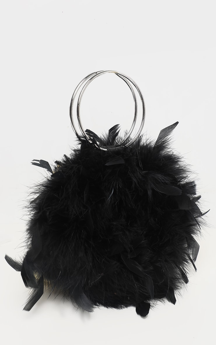 Black Feather Boa Circle Handle Bag 2