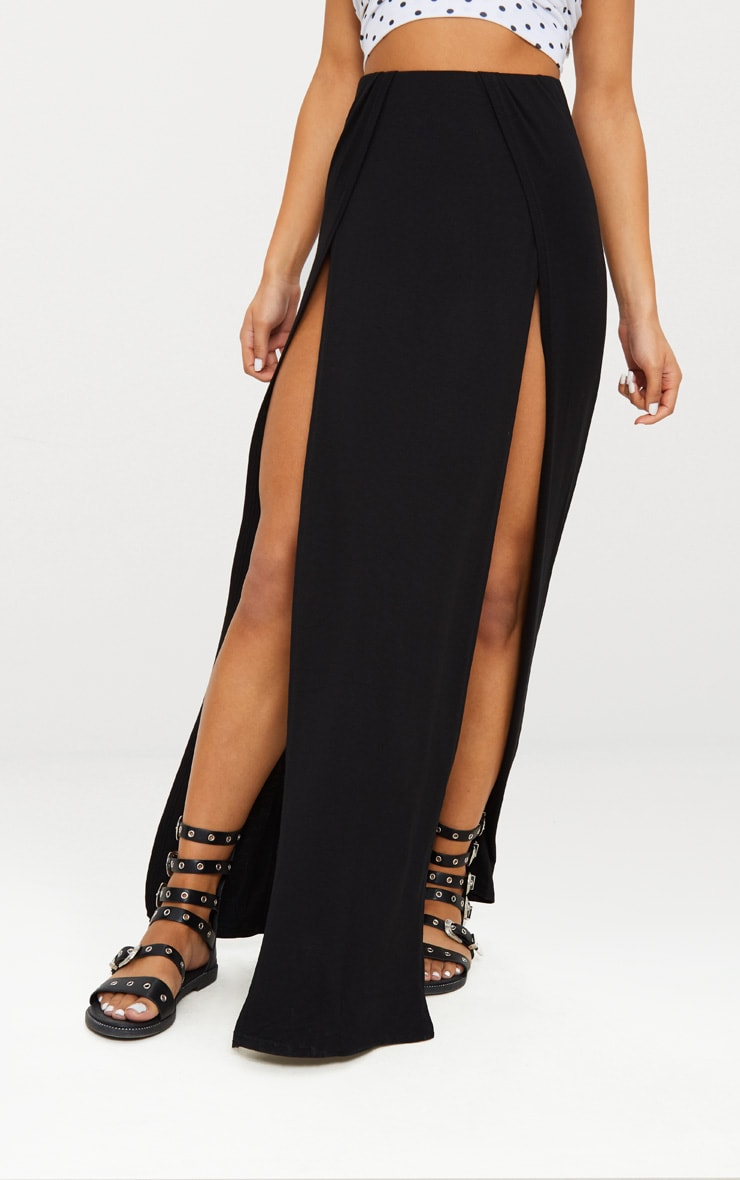Black Double Split Maxi Skirt 2