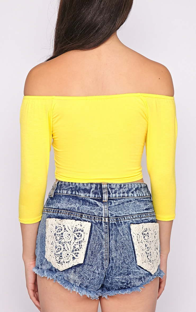 Joy Yellow Bardot Crop Top  2