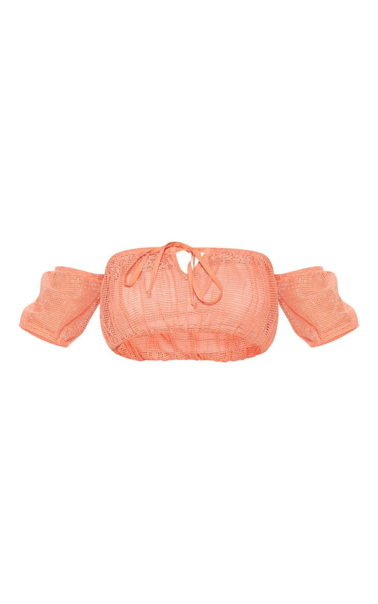 Coral Open Cheesecloth Bardot Top 3