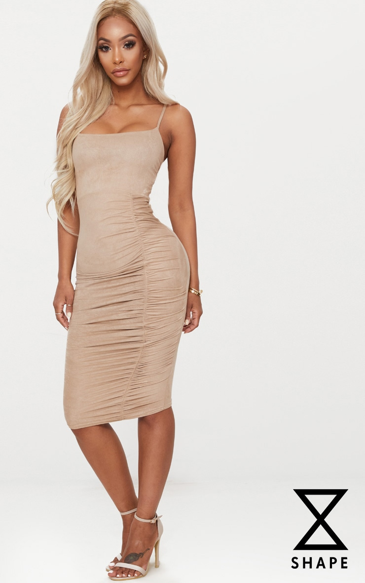 Shape Taupe Faux Suede Ruched Midi Dress 1