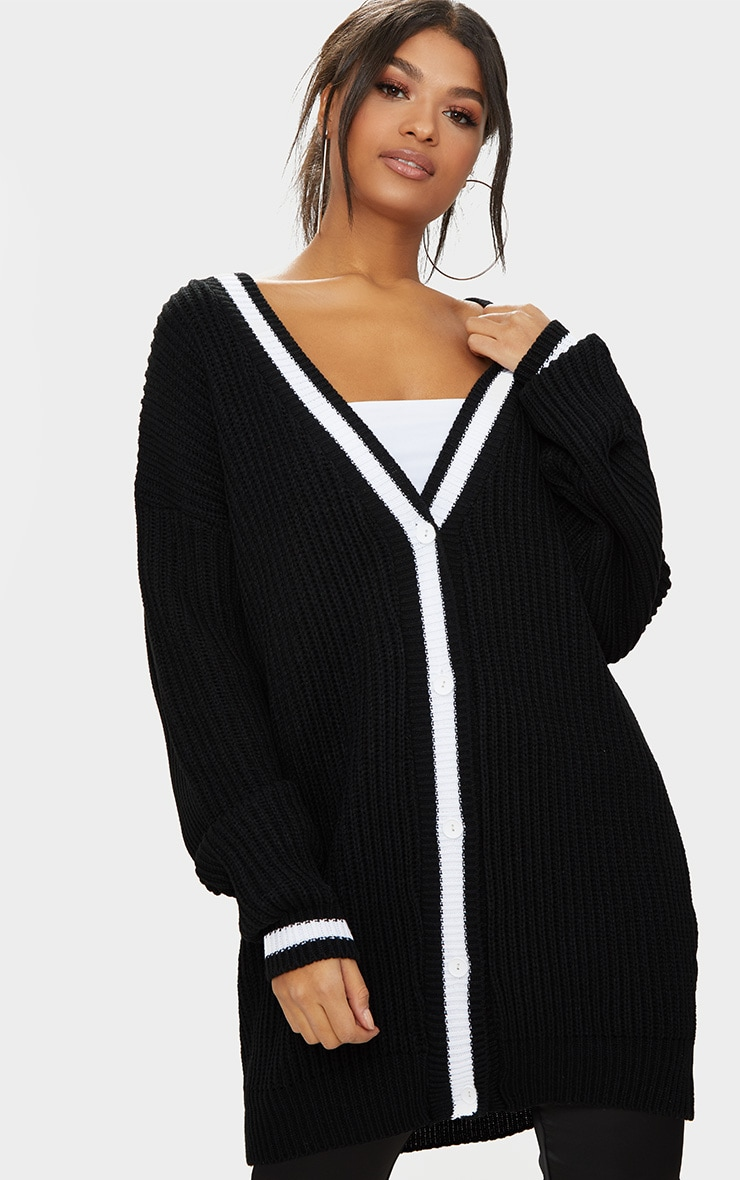 Black Contrast Edge Boyfriend Cardigan 1