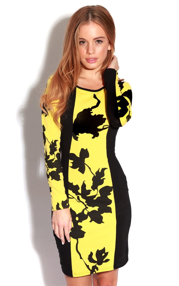Rebekah Yellow & Black Floral Dress-S/M 1