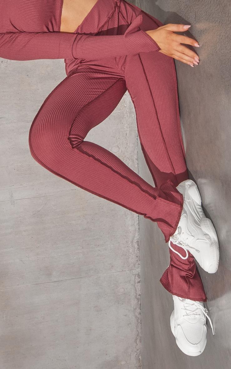 RENEW Washed Red Split Hem Seam Detail Leggings 4