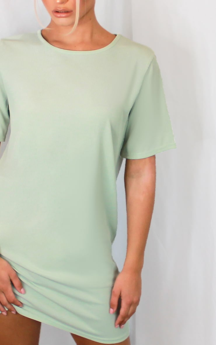 Sage Green Rib Short Sleeve T Shirt Dress 4