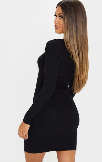 Black Soft Belted Knitted Rib Dress