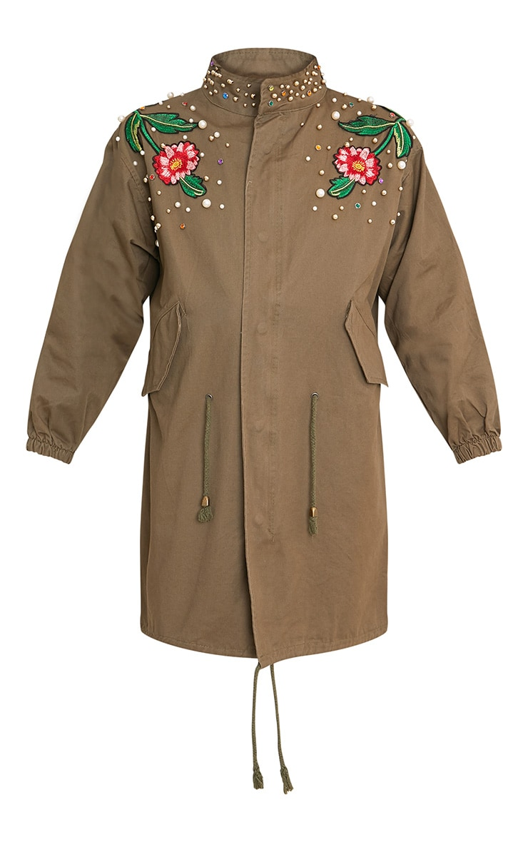 Lynelle Khaki Pearl Floral Badge Light Weight Jacket 3
