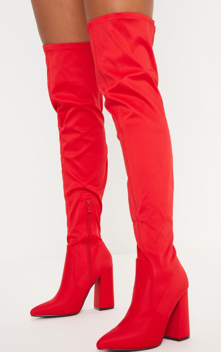 Red Over The Knee Point Boot 2
