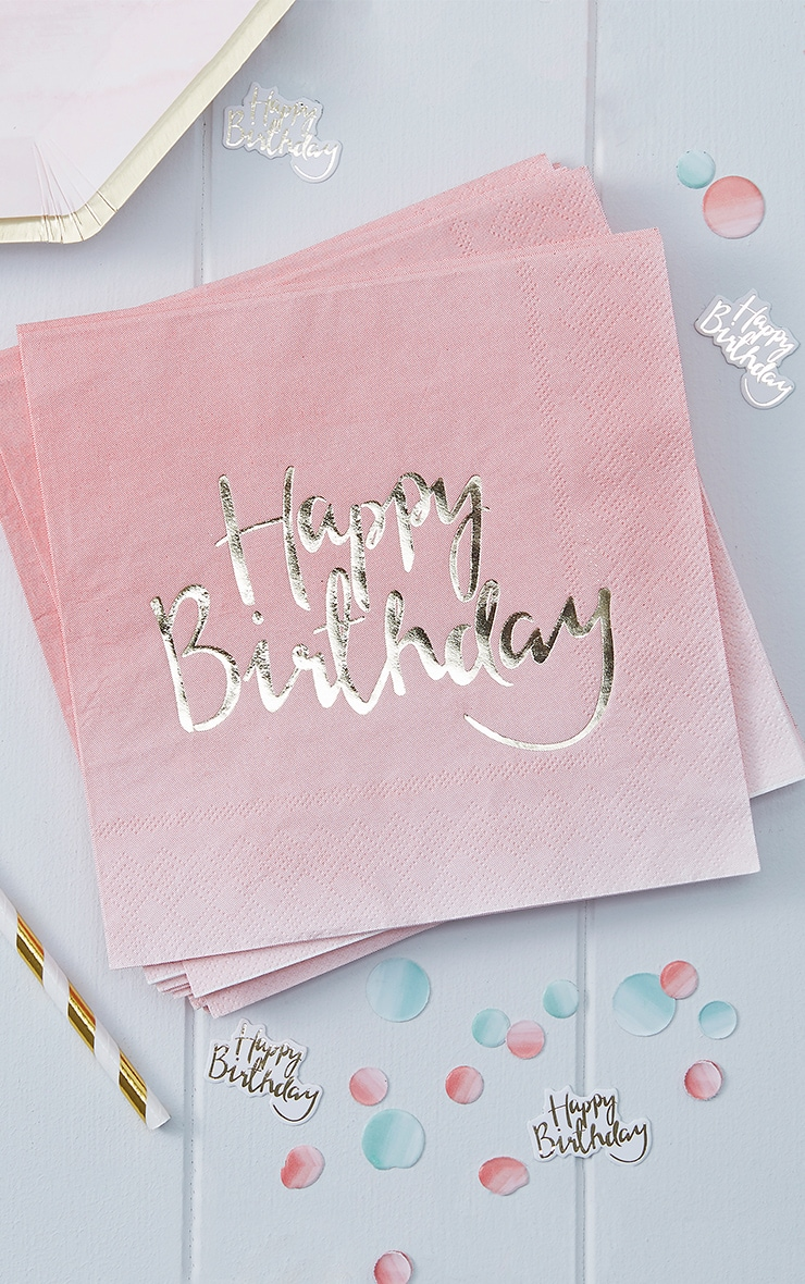 Ginger Ray - Lot de 20 serviettes en papier rose ombré Happy Birthday 1