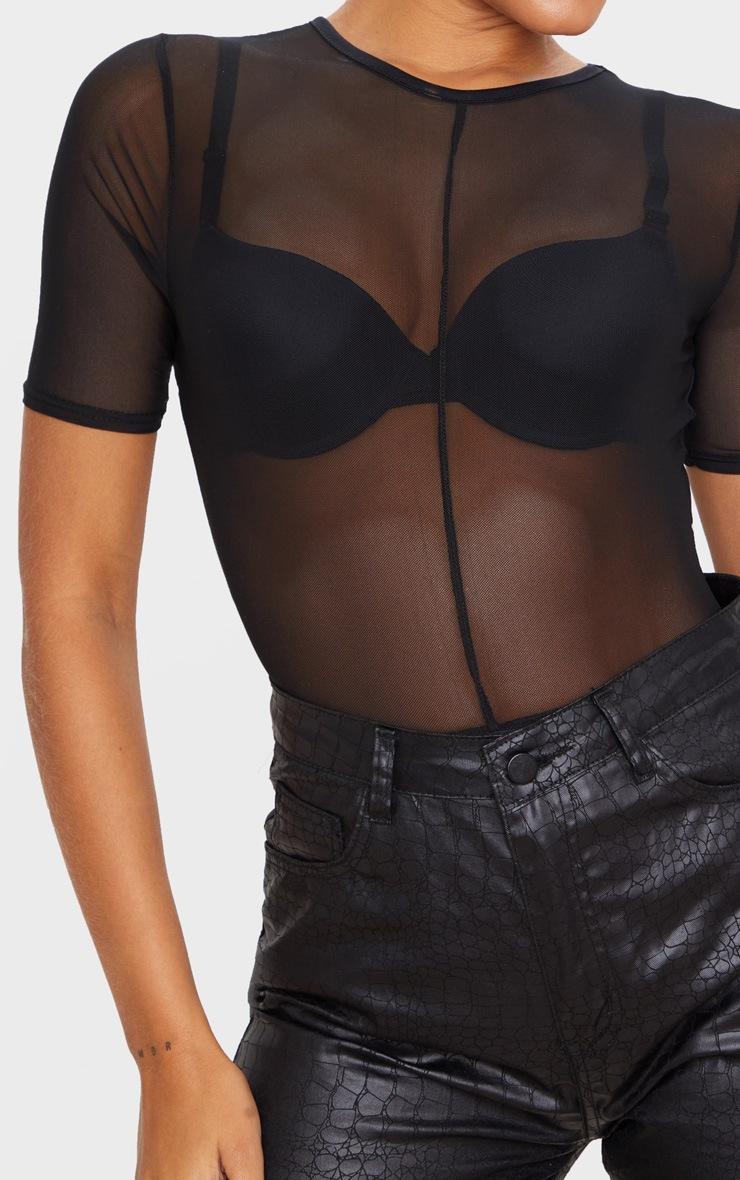 Body en mesh transparent noir à manches courtes 4