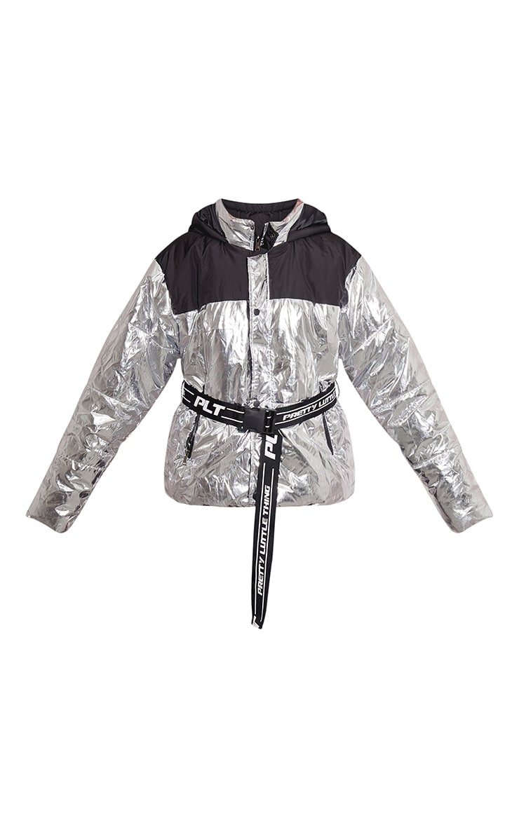 PRETTYLITTLETHING Plus Silver Metallic Contrast Panel Puffer Jacket  3