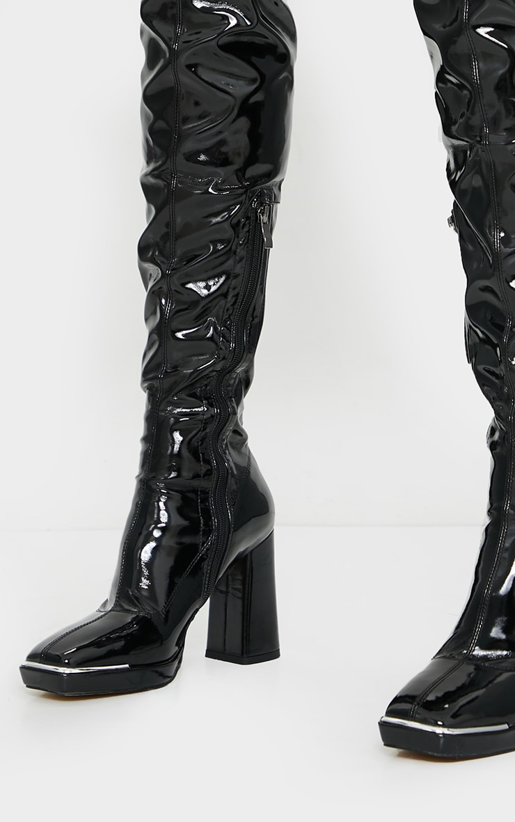 Black Patent Square Toe Cap Mid Over Knee Heeled Boots 4