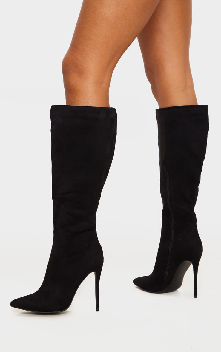 Black Point Toe Stiletto Knee High Boots 2