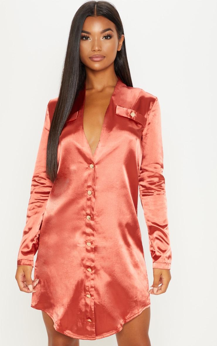 Rust Satin Button Detail Shirt Dress 1