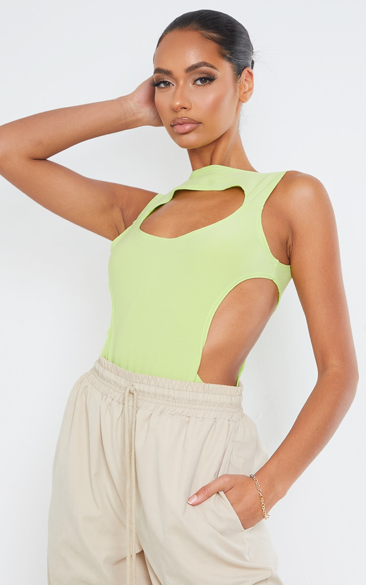 Lime Slinky Front Cut Out Racer Bodysuit 3