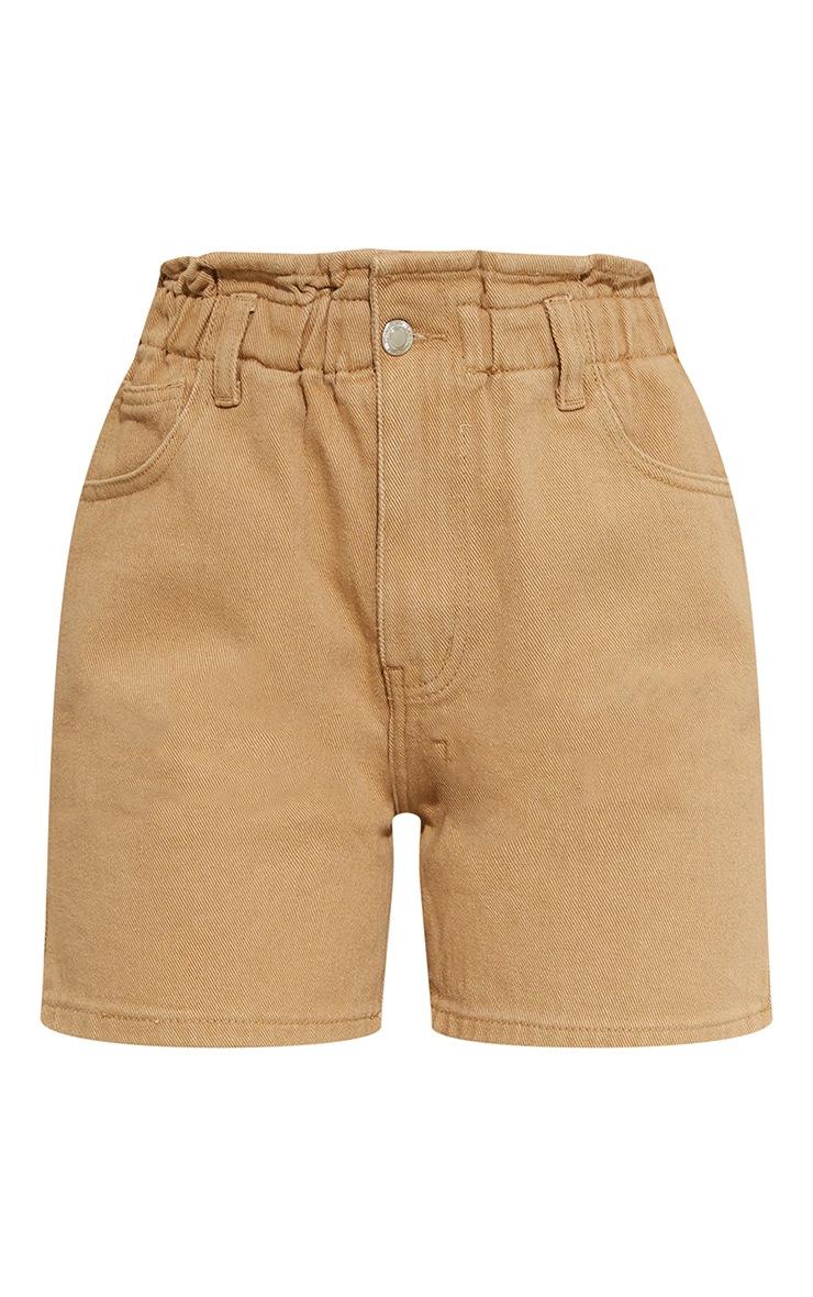 Tan Paperbag Waist Shorts 6