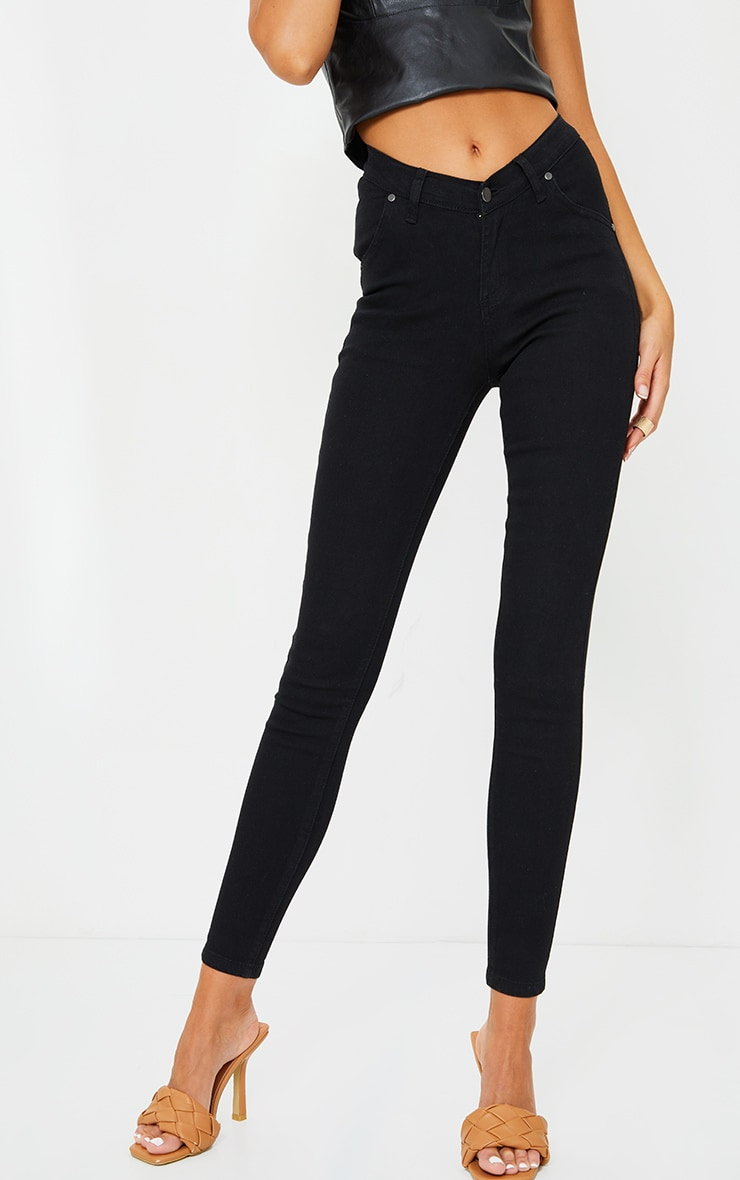 Black Dipped Waistband Skinny Jeans 2