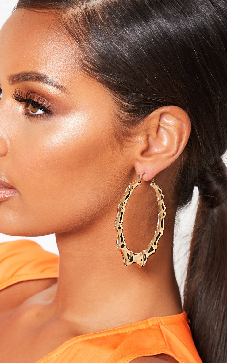 Gold Bamboo Multi Sizes Three Pack Hoop Earrings 3