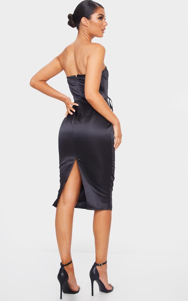 Black Satin Lace Up Cup Detail Bandeau Midi Dress 2