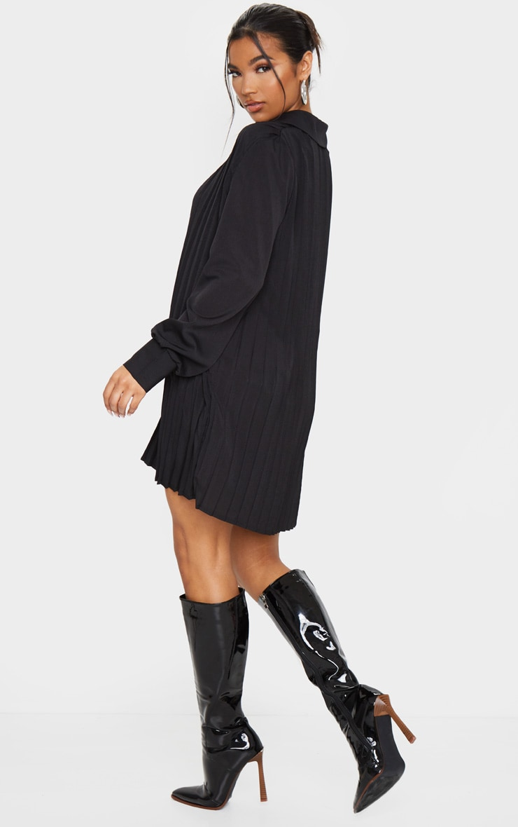 Black Pleated Oversized Shirt Dress 2