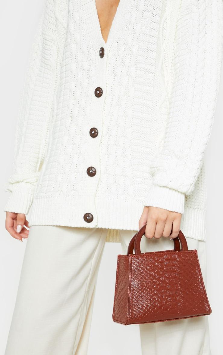 Tan Croc Wooden Handle Mini Bag 1