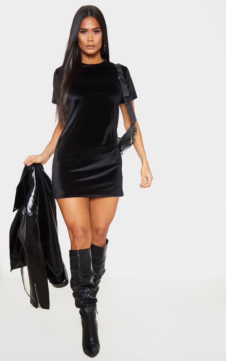 Black Velvet Oversized T Shirt Dress 4