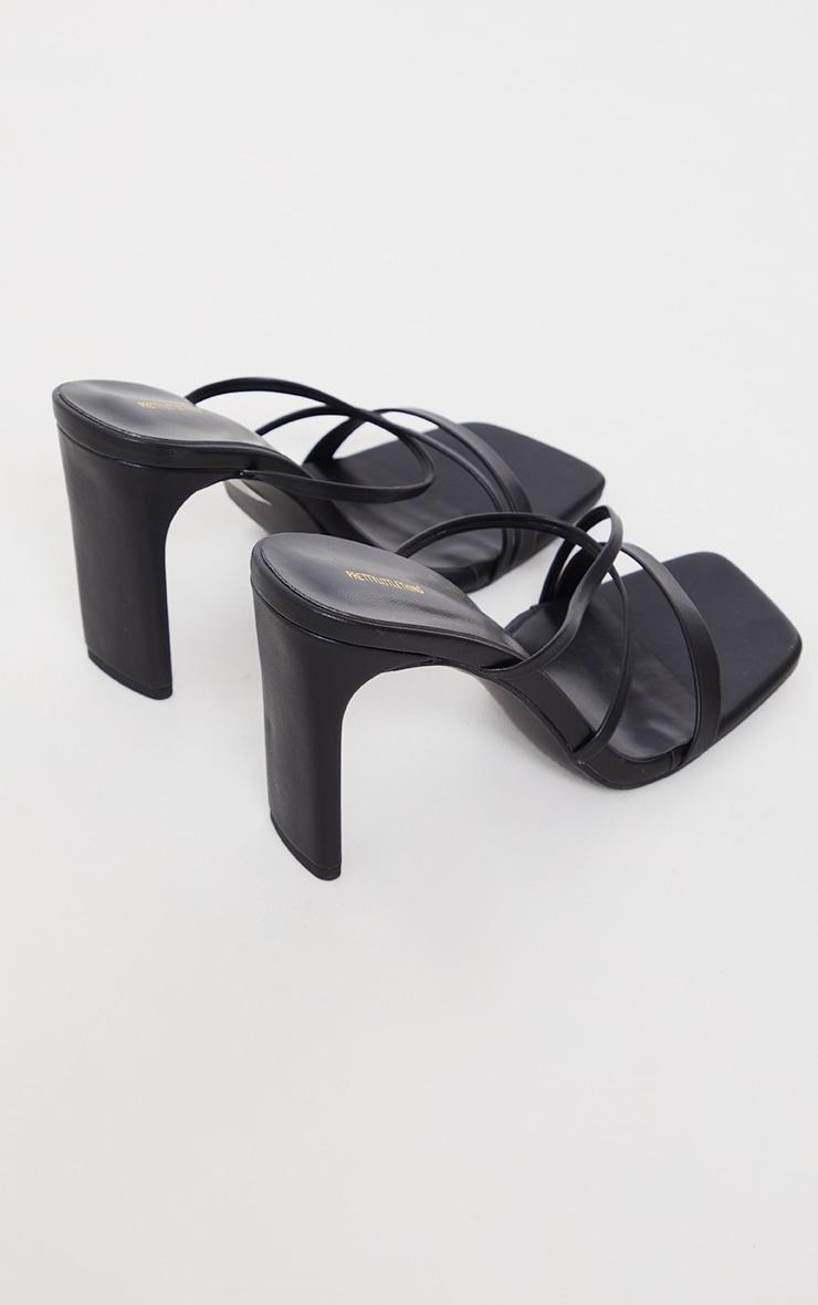 Black Wide Fit Asymmetric Strappy High Flat Block Heel Mules 4