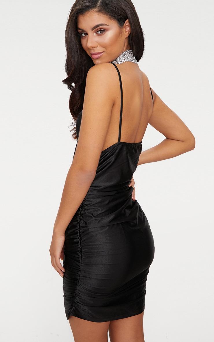 Black Satin Strappy Plunge Ruched Bodycon Dress 2