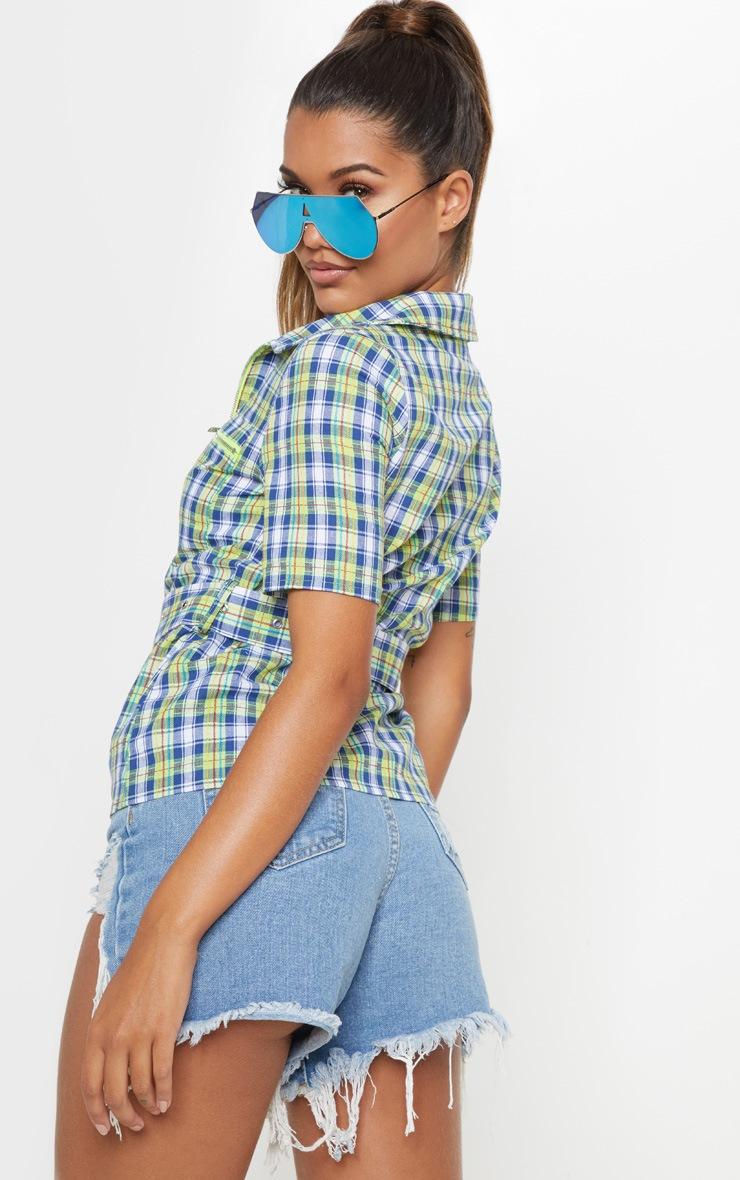 Neon Check Belt Detail Short Sleeve Shirt 2