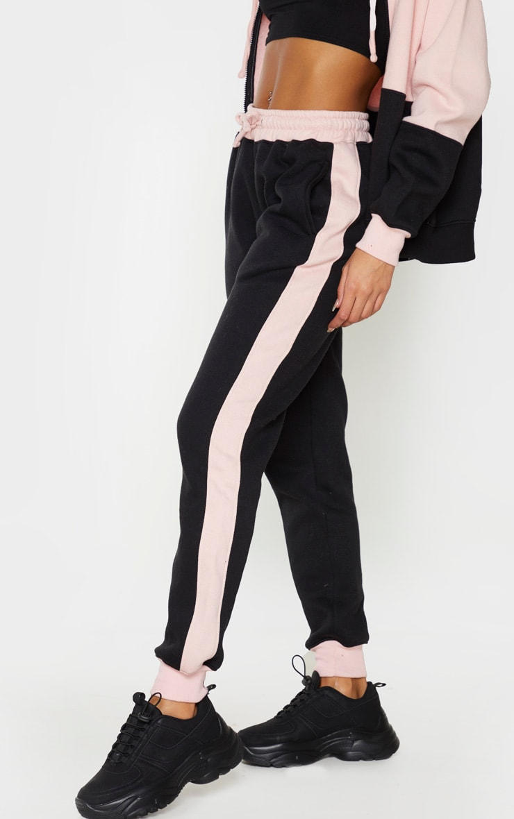 Pink Contrast Side Panel High Waisted Joggers 2