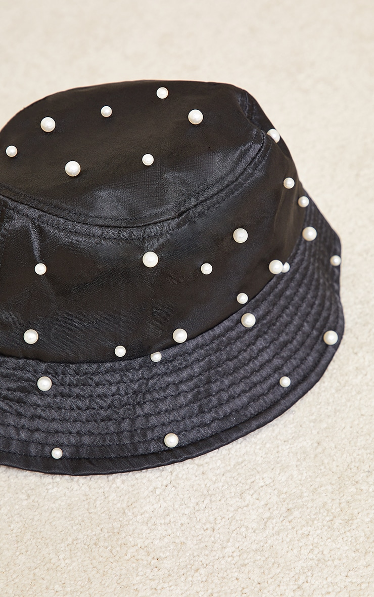 Black With White Pearls Bucket Hat 2