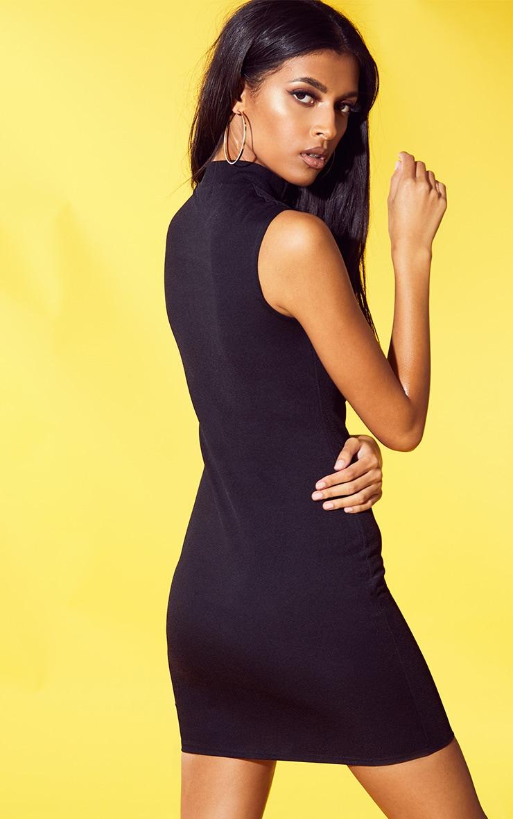Black Crepe High Neck Cut Out Bodycon Dress 2
