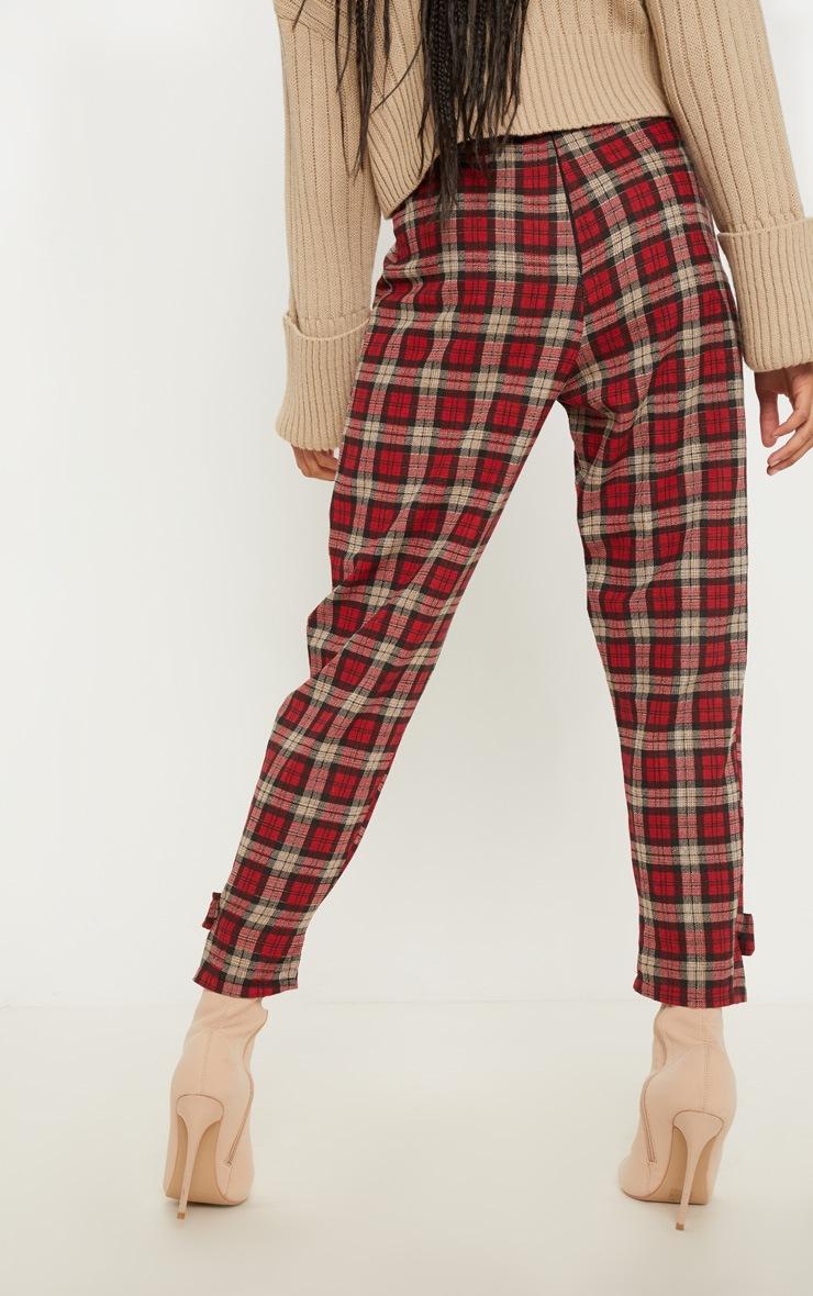 Red Check Peg Leg Pants 4