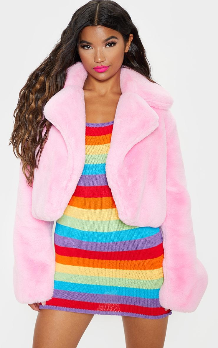 Pink Faux Fur Cropped Jacket  1