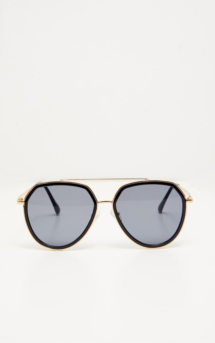 Black Lens Gold Framed Angled Aviator Sunglasses 2
