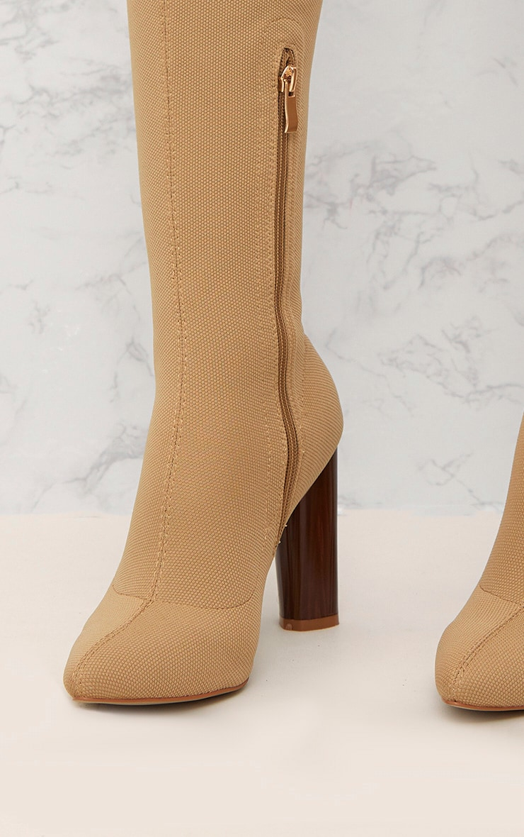 Nude Woven Thigh High Sock Heeled Boots  5