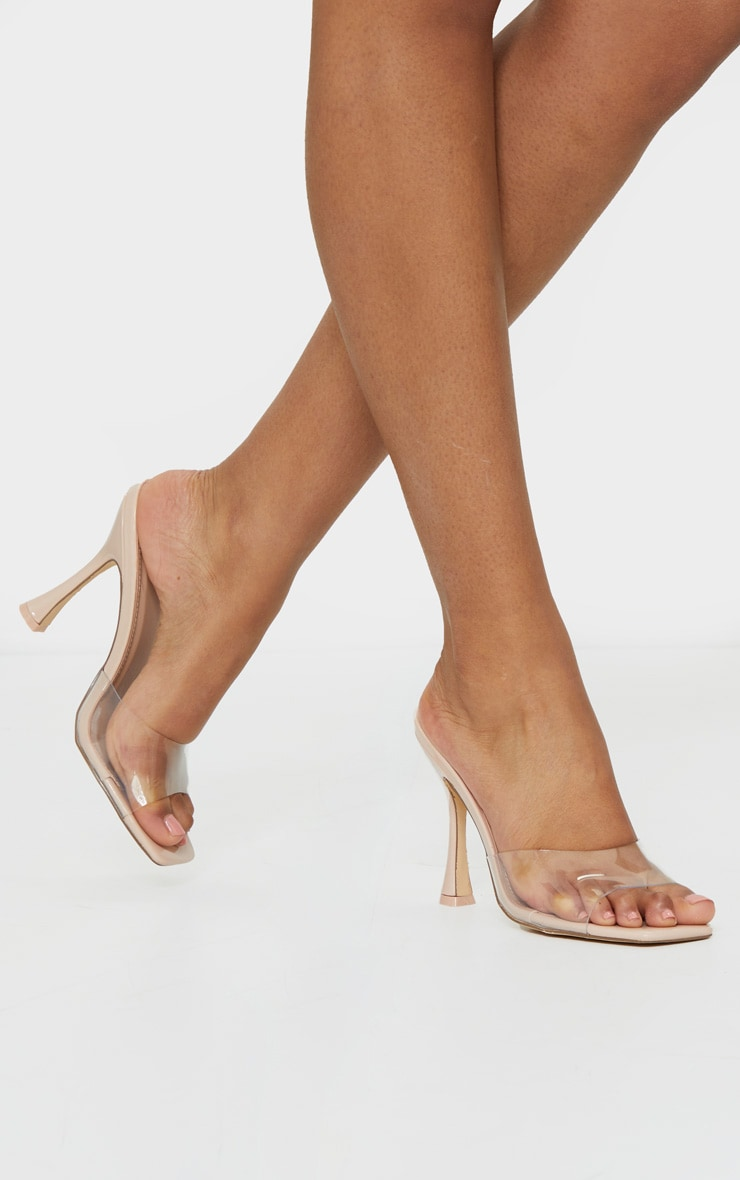 Nude Square Toe Clear Mules 1