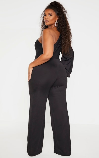 Plus Black One Shoulder Jumpsuit